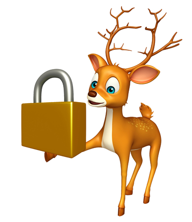 coded: 3d rendered illustration of Deer cartoon character with lock