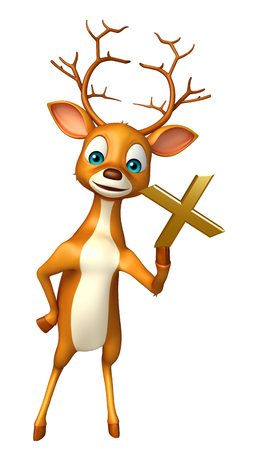 wrong: 3d rendered illustration of Deer cartoon character with wrong sign