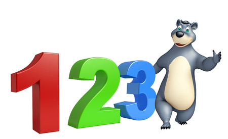 kiddie: 3d rendered illustration of Bear cartoon character with 123 sign Stock Photo