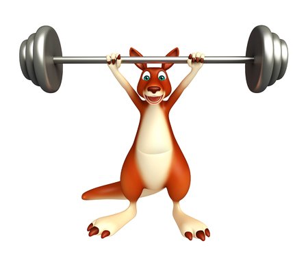jungle gyms: 3d rendered illustration of Kangaroo cartoon character  with bar Stock Photo
