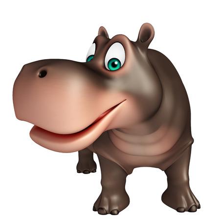 hipopotamo cartoon: 3d rindió la ilustración de personaje de dibujos animados hipopótamo