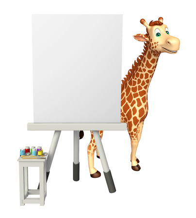 easel: 3d rendered illustration of Giraffe cartoon character with easel board