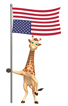 tall grass: 3d rendered illustration of Giraffe cartoon character with flag