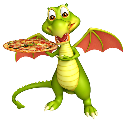 3d pizza: 3d rendered illustration of Dragon cartoon character with pizza