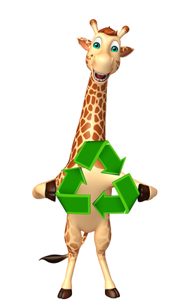 tall grass: 3d rendered illustration of Giraffe cartoon character with recycle Stock Photo