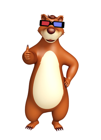 cinema viewing: 3d rendered illustration of Bear cartoon character with 3D glasses