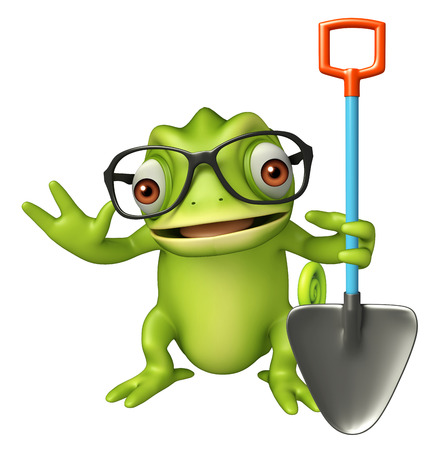 lizard in field: 3d rendered illustration of Chameleon cartoon character with digging shovel