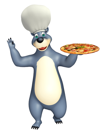 plushy: 3d rendered illustration of Bear cartoon character with pizza