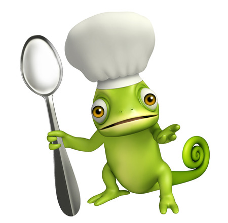 dinner plate: 3d rendered illustration of Chameleon cartoon character with dinner plate and spoons