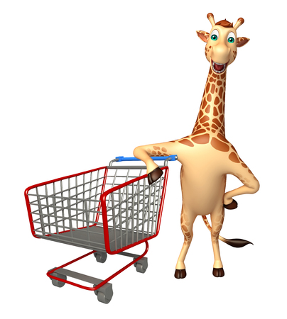 trolly: 3d rendered illustration of Giraffe cartoon character with trolly