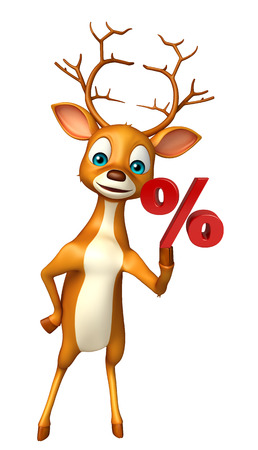 percentage sign: 3d rendered illustration of Deer cartoon character with percentage sign