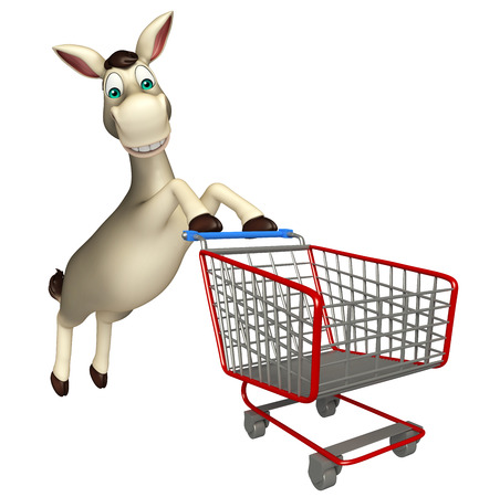 trolly: 3d rendered illustration of Donkey cartoon character with trolly Stock Photo