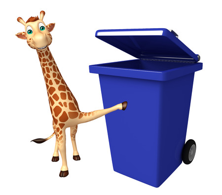 tall grass: 3d rendered illustration of Giraffe cartoon character  with dustbin