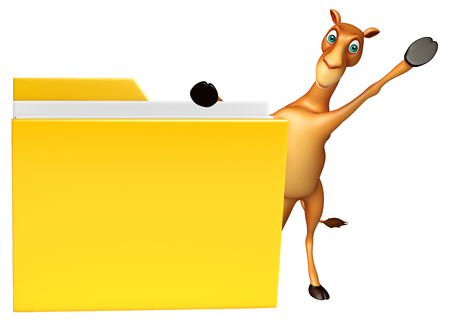 zoo dry: 3d rendered illustration of Camel cartoon character with folder