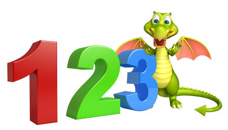 kiddie: 3d rendered illustration of Dragon cartoon character with 123 sign
