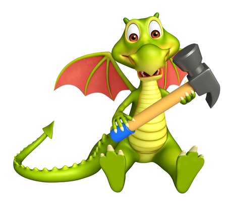 carpentry cartoon: 3d rendered illustration of Dragon cartoon character with hammer