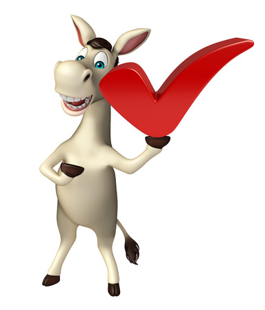 cuteness: 3d rendered illustration of Donkey cartoon character with right sign