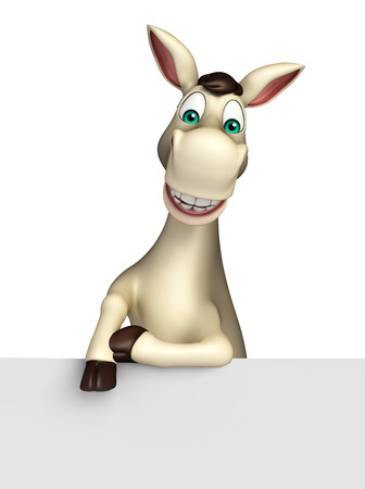 3d rendered illustration of Donkey cartoon character with white board Stock Photo