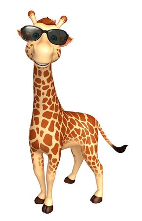3d rendered illustration of Giraffe cartoon character  with sunglass
