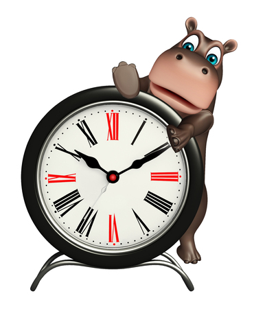 big timer: 3d rendered illustration of Hippo cartoon character  with clock