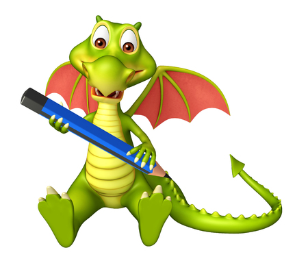 3d dragon: 3d rendered illustration of Dragon cartoon character with pencil