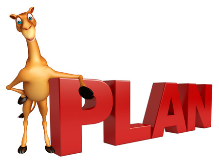 zoo dry: 3d rendered illustration of Camel cartoon character with plan