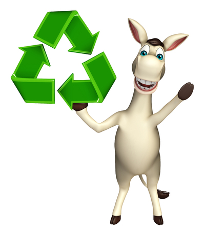 cuteness: 3d rendered illustration of Donkey cartoon character with recycle sign Stock Photo