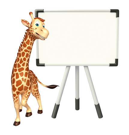 display board: 3d rendered illustration of Giraffe cartoon character with display board