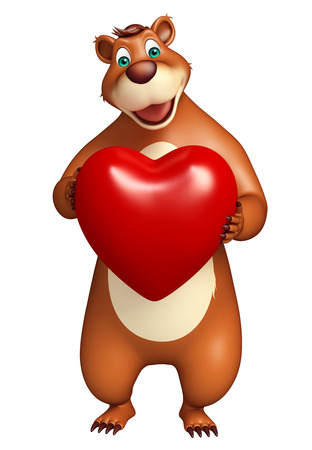 plushy: 3d rendered illustration of Bear cartoon character with heart