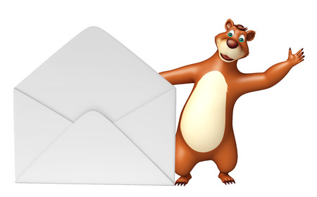 plushy: 3d rendered illustration of Bear cartoon character with mail Stock Photo