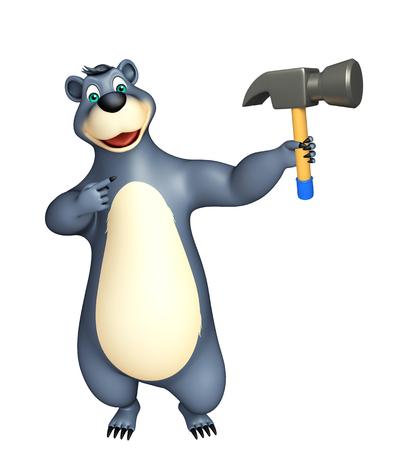 carpentry cartoon: 3d rendered illustration of Bear cartoon character with hammer