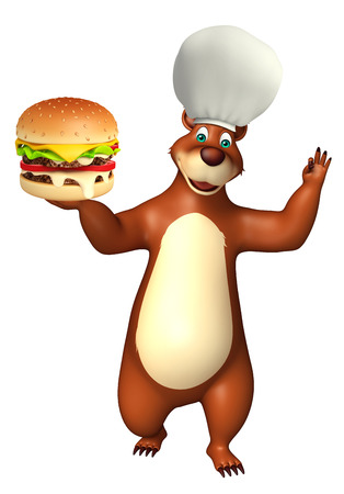 plushy: 3d rendered illustration of Bear cartoon character with burger Stock Photo