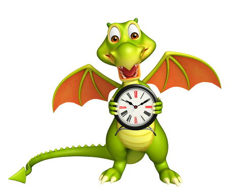 wake up happy: 3d rendered illustration of Dragon cartoon character with clock