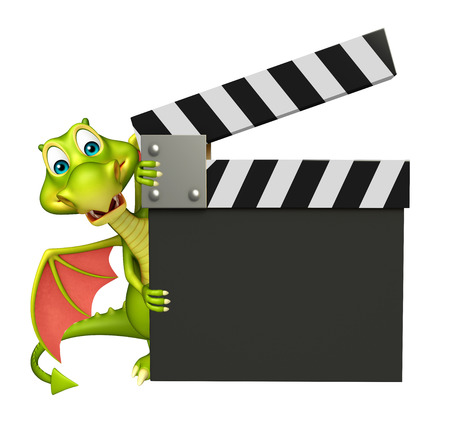 take a history: 3d rendered illustration of Dragon cartoon character with clapper board Stock Photo