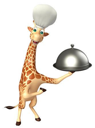tall grass: 3d rendered illustration of Giraffe cartoon character with chef hat and cloche