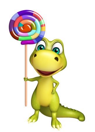 lollypop: 3d rendered illustration of Dinosaur cartoon character with lollypop