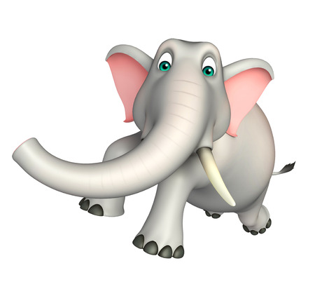 wild animal: 3d rendered illustration of Elephant funny cartoon character