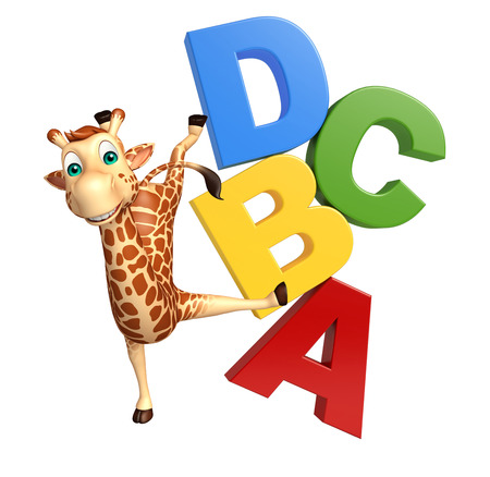 3d rendered illustration of Giraffe cartoon character with abcd sign