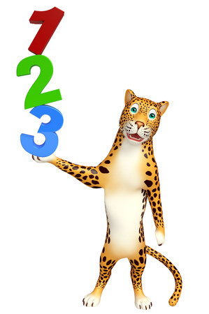 veg: 3d rendered illustration of Leopard cartoon character with 123 sign