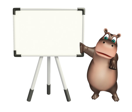 display board: 3d rendered illustration of Hippo cartoon character with display board Stock Photo
