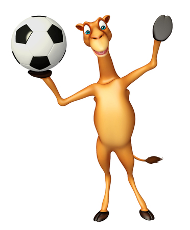 zoo dry: 3d rendered illustration of Camel cartoon character with football