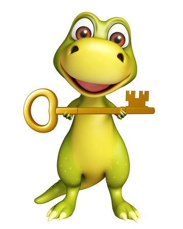 monsters house: 3d rendered illustration of Dinosaur cartoon character with key