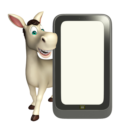 cuteness: 3d rendered illustration of Donkey cartoon character with mobile phone