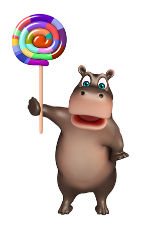 lollypop: 3d rendered illustration of Hippo cartoon character   with lollypop
