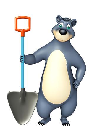 digging: 3d rendered illustration of Bear cartoon character with digging shovel