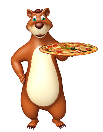 3d pizza: 3d rendered illustration of Bear cartoon character with pizza