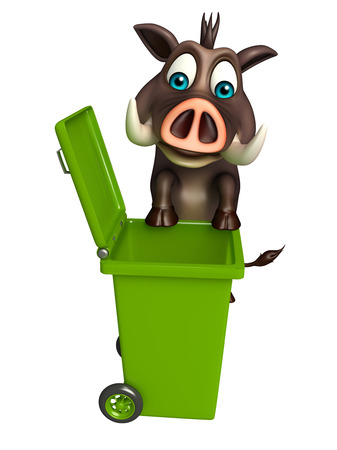 dustbin: 3d rendered illustration of Boar cartoon character with dustbin Stock Photo