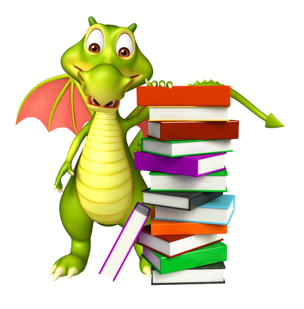 3d dragon: 3d rendered illustration of Dragon cartoon character with book stack Stock Photo
