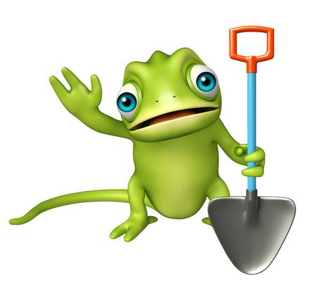 lizard in field: 3d rindió la ilustración de personaje de dibujos animados del camaleón con la pala de excavación