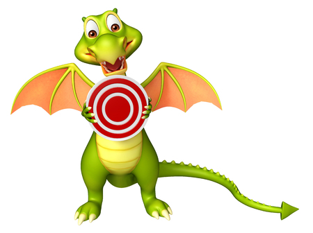 3d dragon: 3d rendered illustration of Dragon cartoon character with target sign